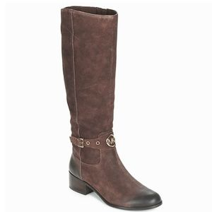 Michael Kors Distressed Suede Leather Riding Boot